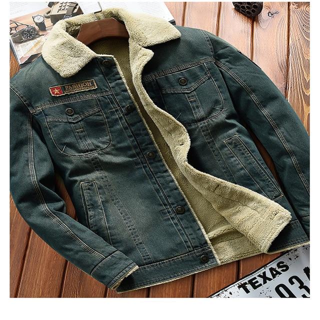 be11380fe0 US $88.0 |Inverno Mens Giacca di Jeans Jeans Cappotti di Pelliccia  All'interno Incappucciato Collare Con cappello Per L'uomo Taglia M alla XXL  ...