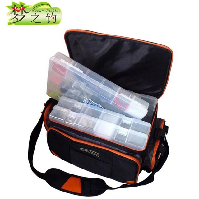 Cheap Dream Fishing 37*23*24cm Multi-Purpose Fishing Bag Bolsa Pesca Waterproof Fly Fishing Tackle Bag Fishing Reel Rod Lure Bait Bags