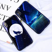 Blue Ray Tempered Glass Case For iPhone 7 Case Cartoon Pattern Cases For iPhone X 6 6S 8 Plus Cover Animal Phone Coque