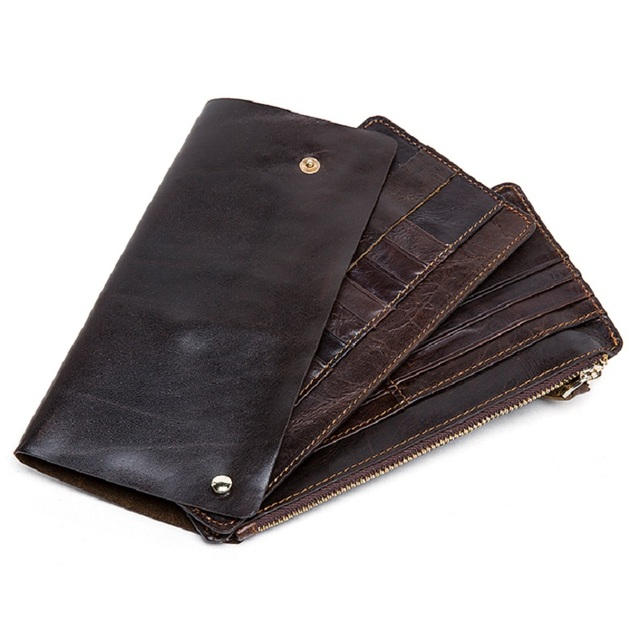 New Men Vintage Cowhide Wallets Genuine Leather Removeable Wallet Long Clutch Wallets Coin Purse Slim Fashion Male Card Holder