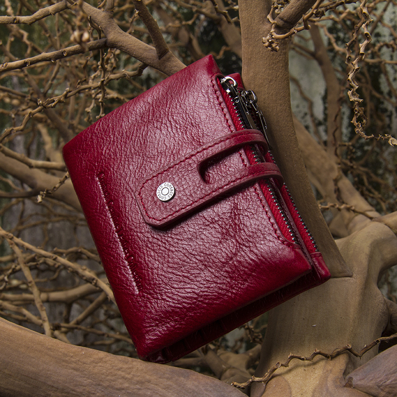 Image 5 - Contacts Fashion Short Women Wallet Female Genuine Leather Womens Wallets Zipper Design With Coin Purse Pocket Mini Wallet Redleather woman wallet zipperwallet zipperwoman wallet zipper -