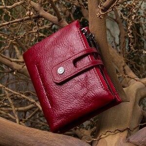 Image 5 - Contacts en cuir véritable mode court portefeuille femmes fermeture éclair mini Rfid porte monnaie Mini port carte portefeuilles pour femmes femmes portfel