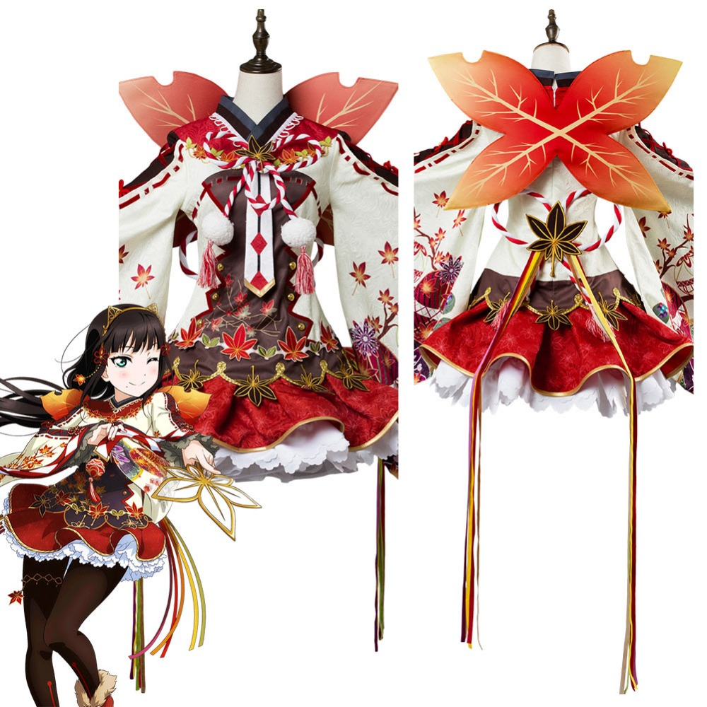 Love Live ! Dia Kurosawa Cosplay Costume Aqours Maple Leafs Ver Kimono Dress Cosplay Costume Halloween Carnival