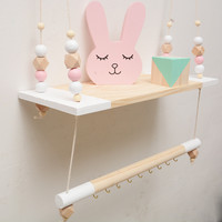 Wall Shelf Kids Room Swing Decorative wall Shelf DIY Wood Beads Storage Shelf Organizer Nordic Hanging Wood Shelf Home Decor