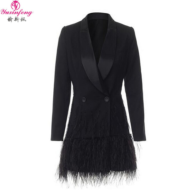 Yuxinfeng 2018 Sping Fashion Blazer Women Spring Autumn Elegant Feather Patchwork Office Ladies Blazers Jacket Black with Belt
