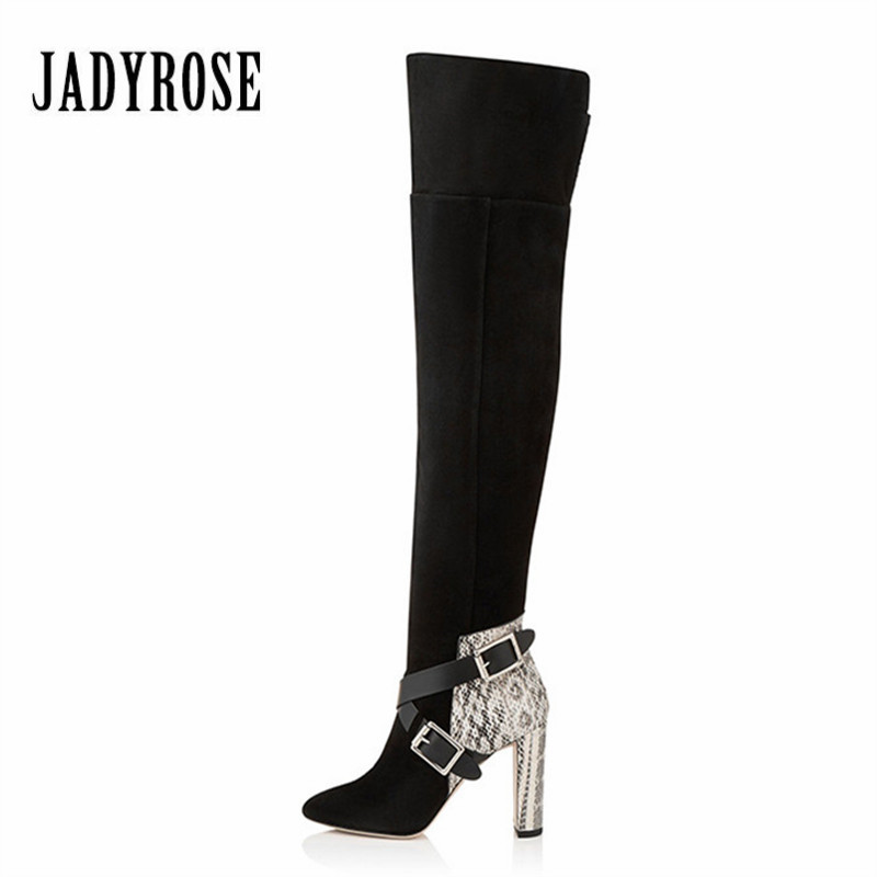 Jady Rose Snakeskin Suede Women Over The Knee Boots Chunky High Heel Female Thigh High Boots Straps Winter Warm Shoes Woman women over the knee boots black velvet long boots ladies high heel boots sexy winter shoes chunky heel thigh high boots