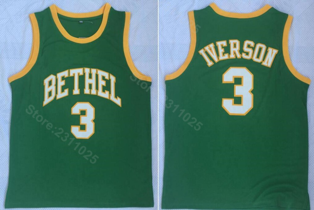 f3132880ae77 Detail Feedback Questions about Ediwallen Bethel 3 Allen Iverson High  School Basketball Jerseys Green Yellow Team Color For Sport Fans Breathable  High ...
