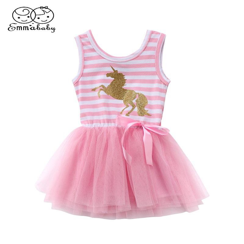 Emmababy Summer Sleeveless Princess Lace Dress Baby Girls Toddler Kids Unicorn Dresses Casual Party Wedding Tutu dresses chamsgend summer toddler kids baby girls clothes printing sleeveless dress small house vest princess tutu dresses june8 p30