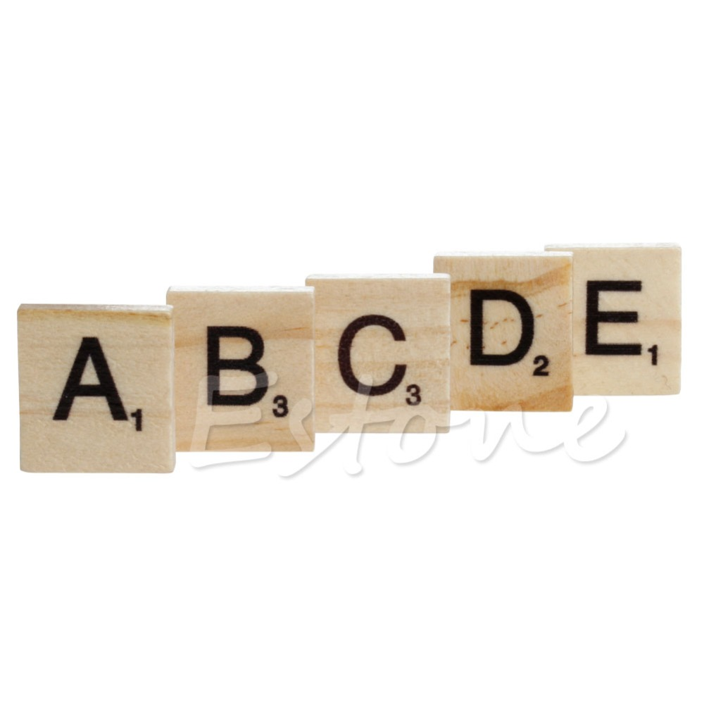 Hot 100 Wooden Alphabet Scrabble Tiles Black Letters & Numbers For Crafts Wood