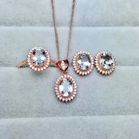 shilovem 925 sterling silver real Natural aquamarine Rings pendants stud earrings fine Jewelry women wedding new mtz060800aga