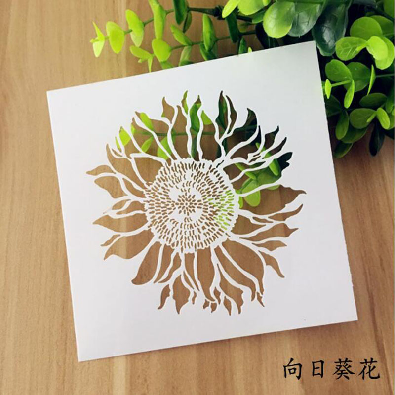 Stencil Reusable Painting Sunflower Flower Template Stencils For Painting Wall Scrapbooking Photo Album Embossing Paper Cards