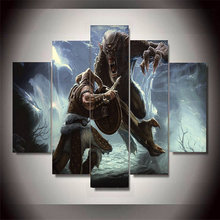 High Quality 5 Panels Modern Home Decor Skyrim Wall Art Canvas Spray Painting For Living Room Unframed Artwork Household Product
