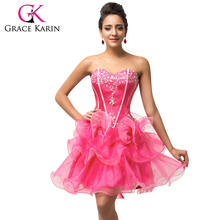 Grace Karin Sweetheart Beaded and Sequins Organza Prom Dresses Black Sky Blue Deep Pink Sexy Ball Gown Party Dress H007587