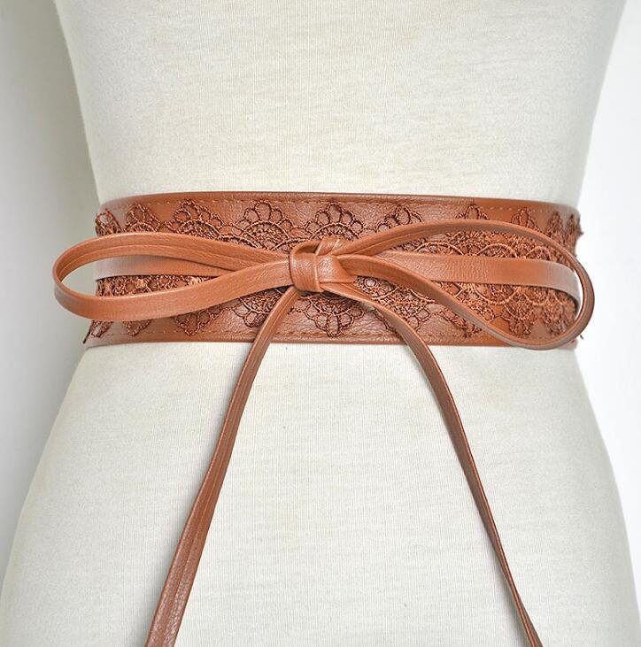 Women's Runway Fashion Lace Patchwork PU Leather Cummerbunds Female Dress Corsets Waistband Belts Decoration Wide Belt R1394