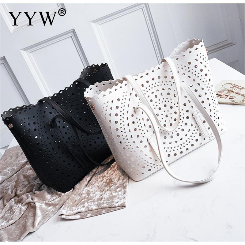 Geometric Hollow Female Shoulder Bag White Women'S PU Leather Handbags Solid Top handle Bags For Women 2018 New Designer
