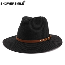 SHOWERSMILE Black Summer Hat Women Straw Breathable Sun Hats Belt Ladies Solid Beach Outdoor UV Female Vintage Jazz Caps