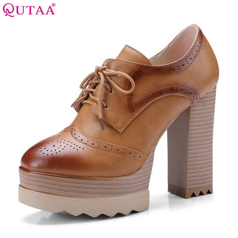 QUTAA 2018 Women Pumps Lace Up Woman Shoes PU Cut Outs Square Super High Heel Platform Classic Ladies Casual Pumps Szie 34-42