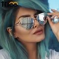 Trioo 2016 cat eye sunglasses mujeres de las señoras de oro rosa diseño fresco de doble vigas lente plana gafas de sol uv400 femenino protección shades