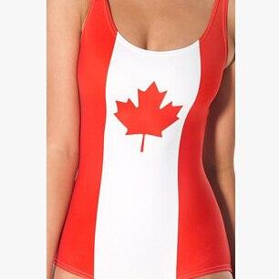 c013495d68e2e Women Sexy One-Piece Swimsuit Digital Printing Canada flag Underwear  Backless Beachwear