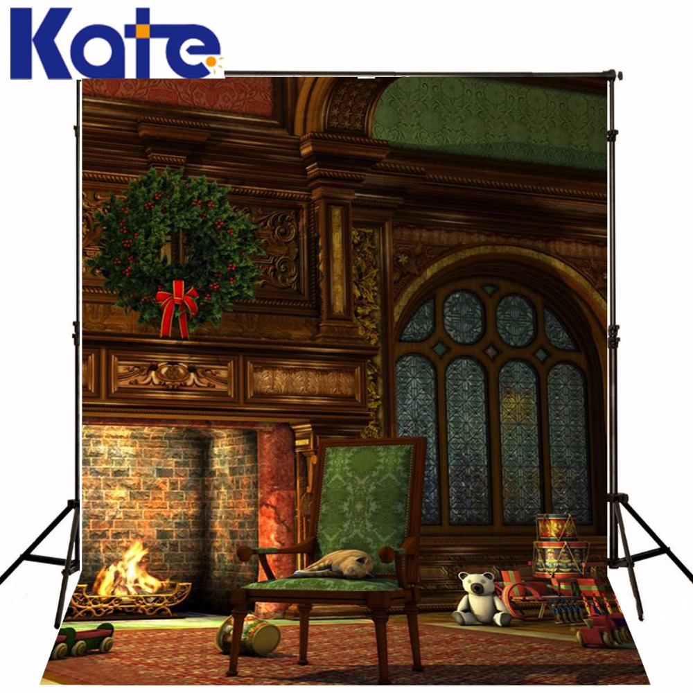 Kate Christmas Photography Backdrops Indoor Brick Wall Photo Studio Background Toy Stove Chair For Photographer photography backdrops christmas indoor christmas atmosphere 5x7ft 1 5x2 2m studio photo backdrop zj