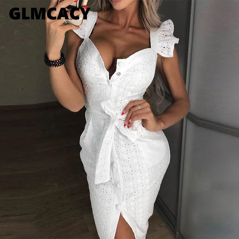Woman Lace Square Neck Wrap Belt Single Breasted Knee-Length Bodycon Dress Solid Sheath Slim Fit Summer Elegant Club Dress