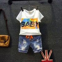 Kids boys clothing set baby whit t shirt and jean short 2pcs children letter printed colors t-shirt holes all match denim short