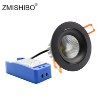 ZMISHIBO LED Spot 220 240V Dimmable Driver Frosted Black Downlights Replaceable COB Light Source 75mm Recessed Ceiling Spot Lamp