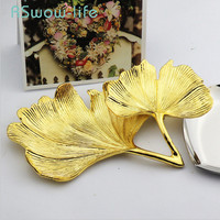 Creative Metal Tray Ginkgo Leaf Jewelry Plate Gold Ring Storage Tray Decorative Trays For Home Tabletop Storage Accessories