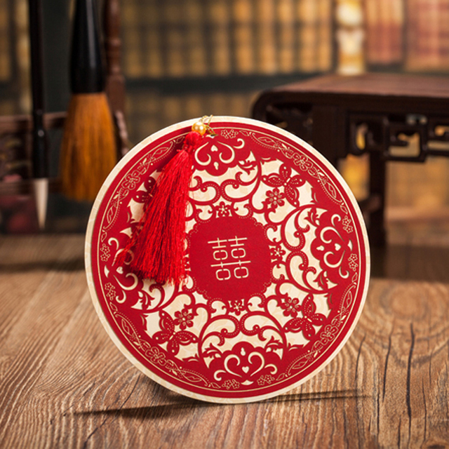 10 pieceslot leiso red chinese style invitation cards with golden 10 pieceslot leiso red chinese style invitation cards with golden xi round stopboris Choice Image