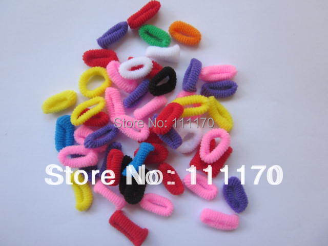 1LOT=3BAGS= 300pcs Kids Baby Girl Tiny Cloth Rainbow Hair bands Elastic Ties Ponytail Holder  J007