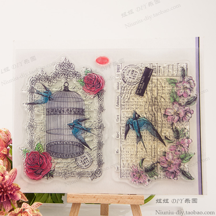 DIY bird net stamps 2pcs/set 14*18CM ACRYLIC VINTAGE clear STAMPS  stempel timbri SCRAPBOOKING stamp alphabet high quality 20 pcs rare earth neodymium magnets for diy 8mm x 1mm high quality