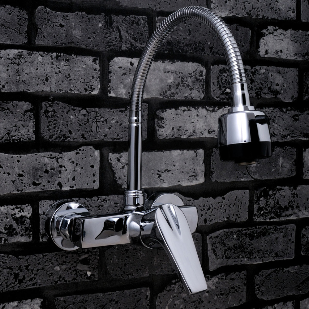 Copper Wall Mounted Kitchen Mixer Bathroom Basin Faucet Hot Cold Water With 360 Swivel Spout bakala copper hot and cold mixer water tap basin kitchen bathroom wash basin faucet g 8046