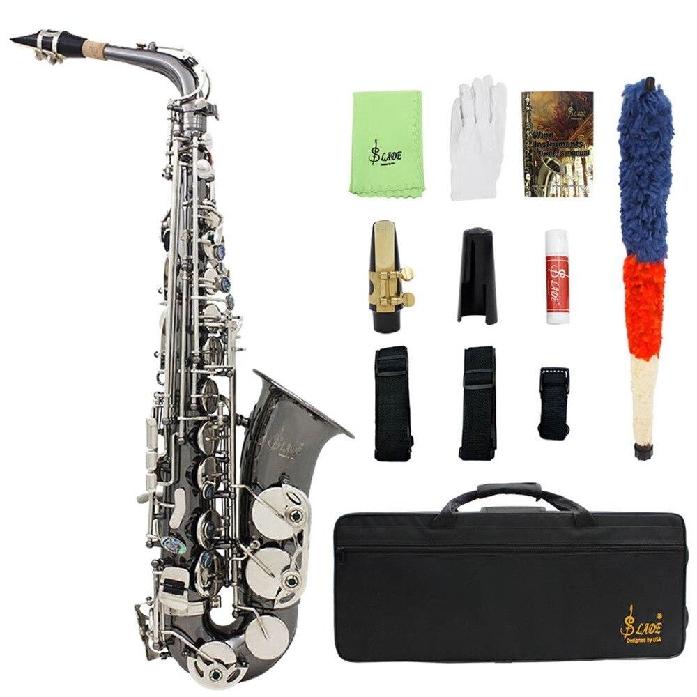 LADE Nickel Eb Alto Saxphone Silver E Flat font b Saxophone b font Sax With Case