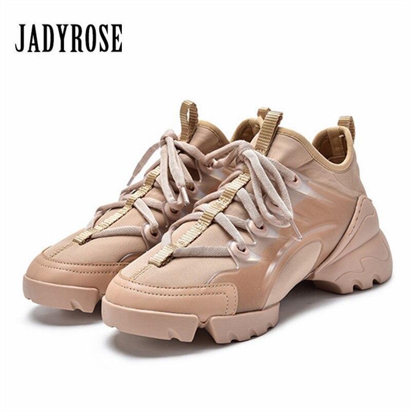 Jady Rose mode femmes baskets à lacets talon épais plate-forme Creepers décontracté chaussette chaussures plates femme appartements Espadrilles formateurs
