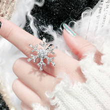 New Arrivals Fashion Luxury CZ Zirconia Open Adjustable Rings for Women Snowflake Shape Party Jewelry Wedding Gifts CRL184