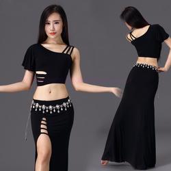Новые стили! Модальные танец живота Комплект топ с коротким рукавом + длинная юбка 2 шт. танец живота костюм женщины множество упражнений