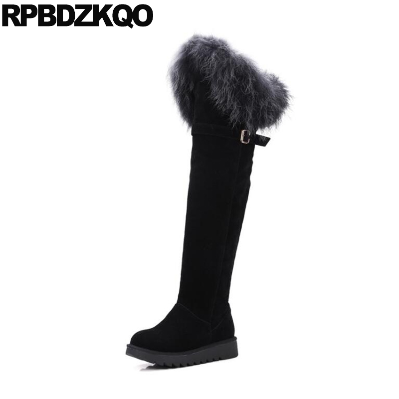 Over The Knee Suede Slim Thigh Women Boots Shoes Ladies Fur High Size 41 Sexy Long Fox Black Flat 10 Fashion New Chinese Female big size slip on navy blue high heel hidden fashion wedge fur long winter over the knee suede slim thigh women boots shoes 10