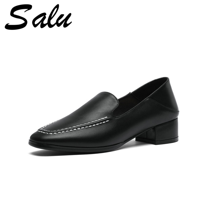Salu Genuine Leather Shoes Woman 5cm Round Toe Square Heel Black Handmade Big Size 34 39