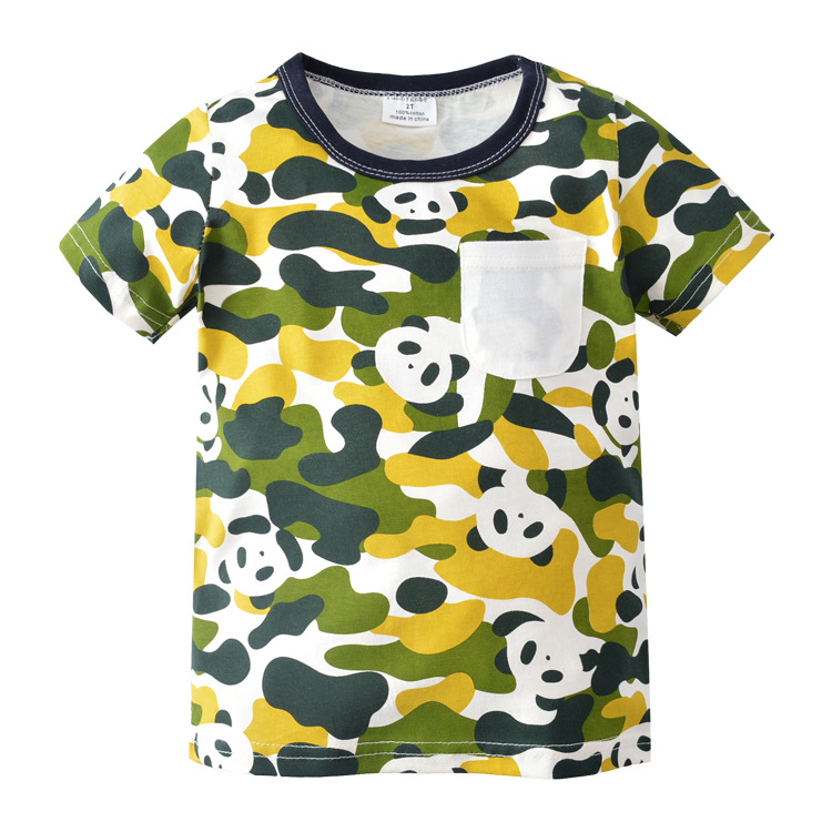 2018 New Summer 100% Cotton Panda T Shirt Kids Clothes With Pocket T-shirts For Boys Clothing Baby Kids Boys T Shirts 80-130cm Diversified Latest Designs Lights & Lighting