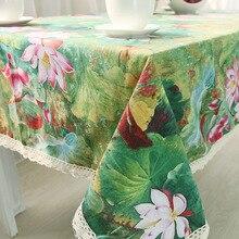 Chinesische Klassische Lotus Print Tischdecke Rechteckige Spitze Baumwolle Esstisch Abdeckung Obrus Tafelkleed Jäten Party Home Decor