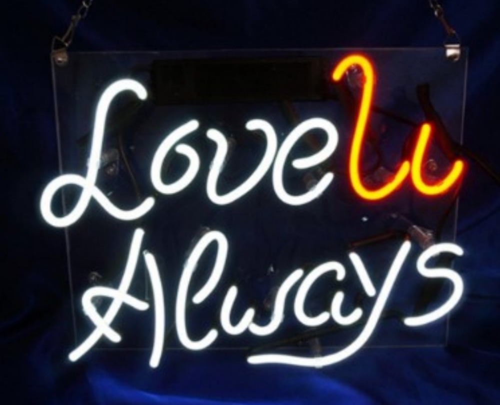 Custom Love U Always Glass Neon Light Sign Beer BarCustom Love U Always Glass Neon Light Sign Beer Bar