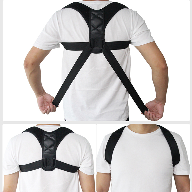 Ajustable volver Corrector de postura de la clavícula de la columna de espalda Lumbar apoyo postura de la correa corrección impide Slouching