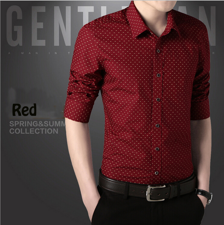 Mens Dress Shirts Polka Dot Designer Shirt Social Slim Fit Male ...
