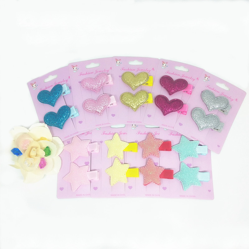 1Set=2PCS Children   Headwear   Love Star Elastic Hair Band Safety Hair Clips Colorful Cute Girls Gift Kids Hair Accessories