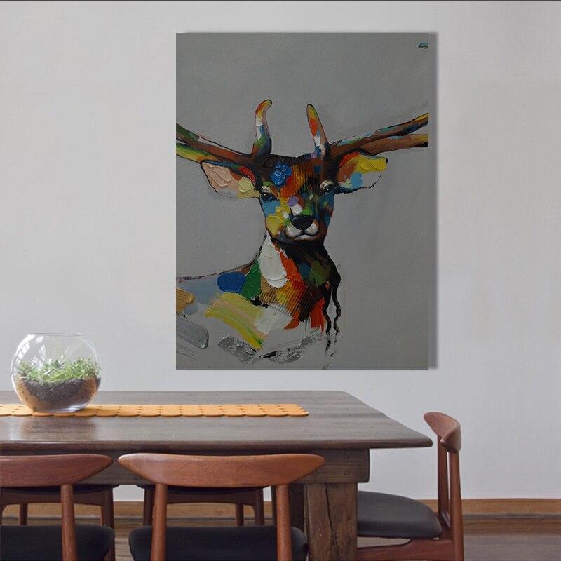 65d1ebcc5 الكرتون الأيائل لوحات مرسومة باليد زيت على قماش جدار الفن ديكور صورة ل غرفة  المعيشة ديكور المنزل فرملس