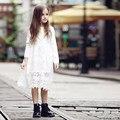 2016 del verano de las muchachas del vestido de encaje de ganchillo de algodón Frock diseño para adolescentes edad 5 6 7 8 9 10 11 12 13 14 T años de edad los niños ropa