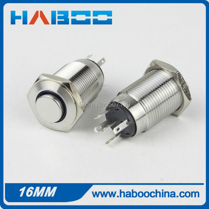 HABOO 1PCS packing 16mm hign head with led metal push button switch reset 1NO+1NC pcb type momentary shipping free