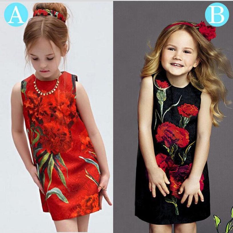Nuevo vestido de novia para niñas, túnica roja, Princesse Fille, Sytle europeo, traje de Elza, flores de moda, vestido sin mangas para niños