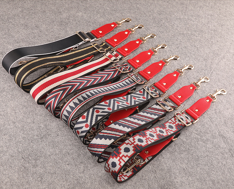 Handbags Strap Striped Dot Design National Buckle Canvas Bag Straps Trendy Easy Holding Shoulder Straps Qn385 beige triangle red