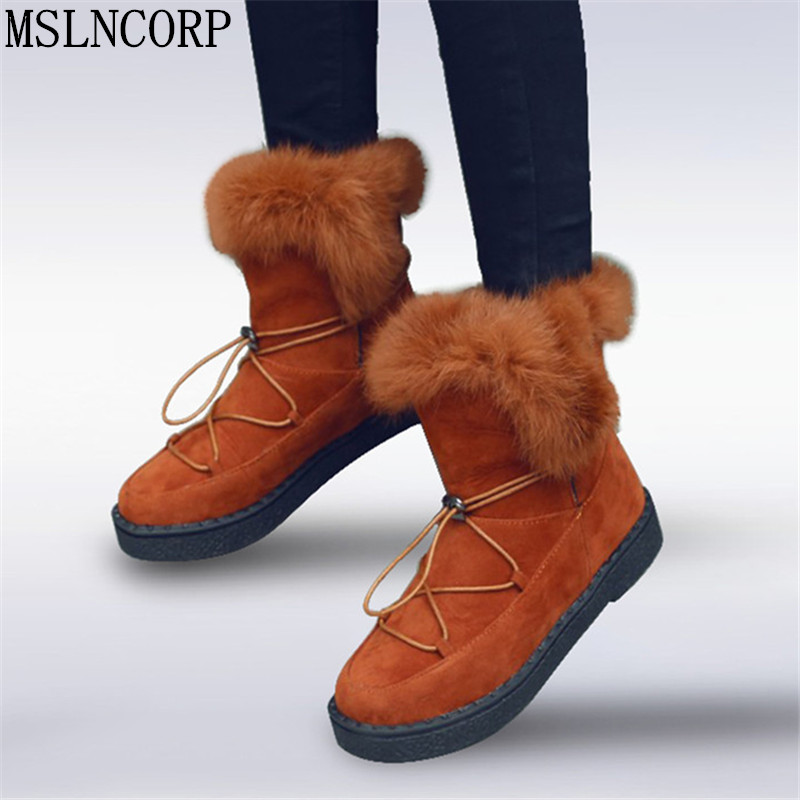 Plus Size 34-45 New Roman Snow Boots Women Real Rabbit Fur Warm Plush Winter Ankle Boots Woman Lace Up platform cotton Shoes
